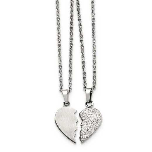 SRSET30-20: Stainless Steel 1/2 Heart & 1/2 Heart Crystal Necklace Set