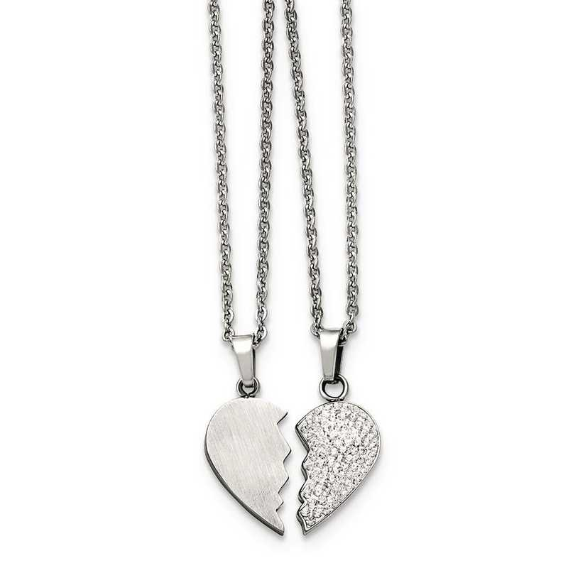 Stainless Steel 1//2 Heart Brushed 1//2 Heart Crystal Necklace Set 20 in Necklace with Pendants Sets Jewelry