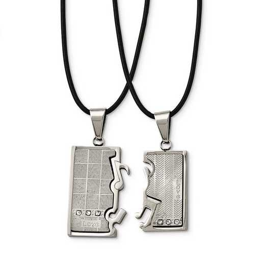 SRSET35-20: Stainless Steel Pol/Brush CZ Love Music Halves Necklace Set
