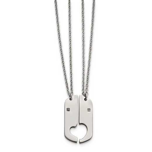 SRSET36-20: Stainless Steel Polished 2 Half Hearts CZ Necklace Set