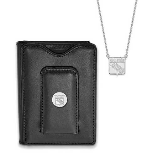 SS011RNG-SET: Sterling Silver NHL New York Rangers Neck & Leather Wallet