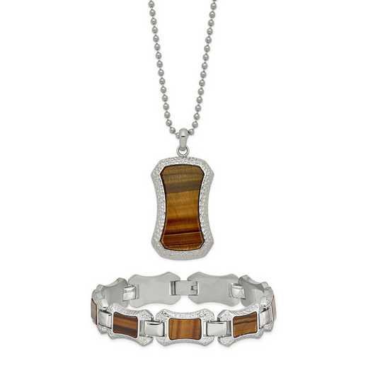 "STSET102: Stainless Steel C & Tiger Eye 24"" Necklace & 8.25"" Bracelet"