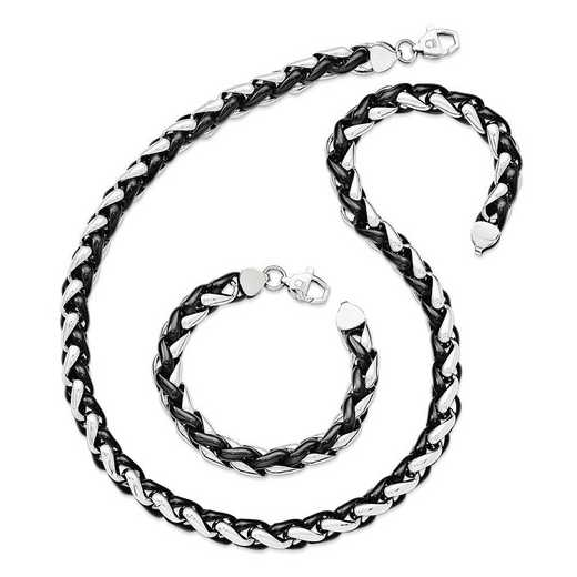 STSET84-8.25: Stainless Steel Set of Link Bracelet and Necklace