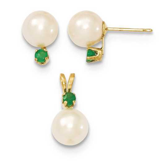 XF303SET: 14k 7-8mm White FWC Pearl & Emerald Stud Earrings & Pendant