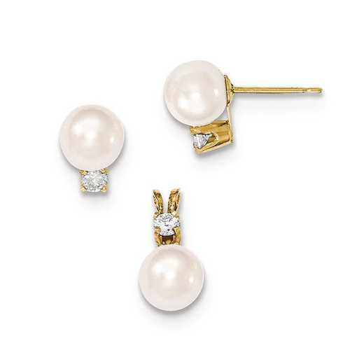 XF381SET: 14K 7-8mm Saltwater Pearl & 1/8 CT Dia. Earring/Pendant Set