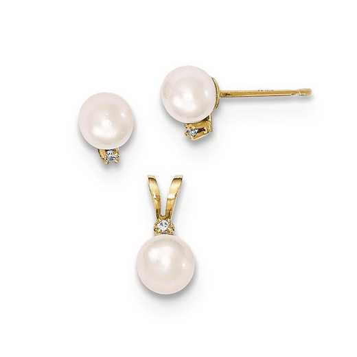 XF398SET: 14K 5-6mm Saltwater Pearl/Dia. Acct Earring & Pendant Set