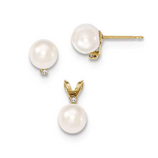 XF399SET: 14K 6-7mm Saltwater Pearl/Dia. Acct Earrings & Pendant Set
