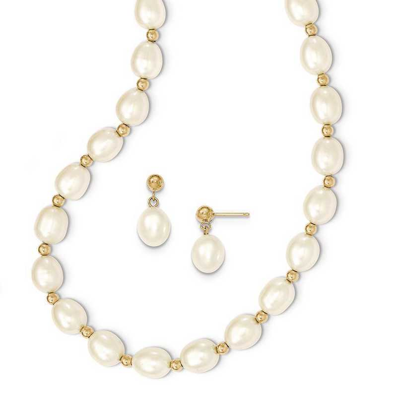 XF499SET: 14k 7-8mm White FWC Pearl Necklace and Bead Post Earring Set