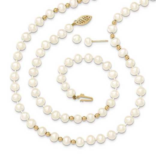 "XF500SET: 14k 6-7mm White FWC Pearl 18""Neck/7.25""Bracelet/Earring Set"