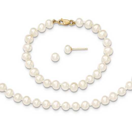 "XF503SET: 14k 4-5mm FWC Pearl - 14""Necklace - 5""Bracelet & Earring Set"