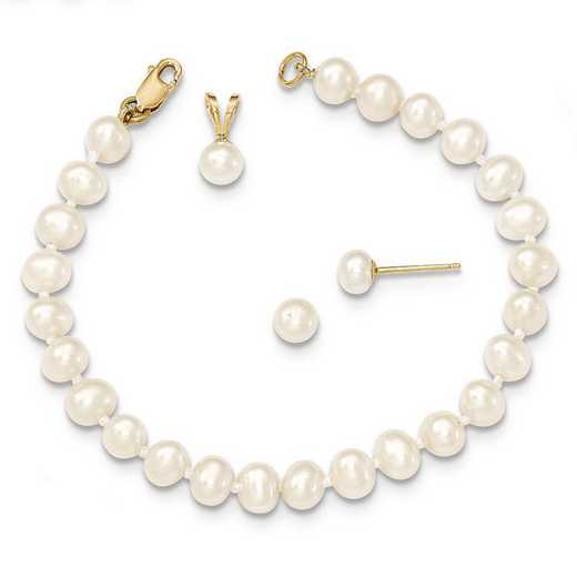 "XF504SET: 14k 4-5mm White FWC Pearl Pendant - 5""Bracelet & Earring Set"