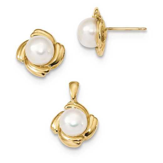 XF626SET: 14k 6-7mm White Button FWC Pearl Earring and Pendant Set
