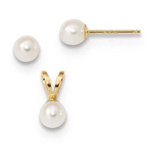 XF631SET: 14k Children's 4-5mm White FWC Pearl Pendant and Earring Set