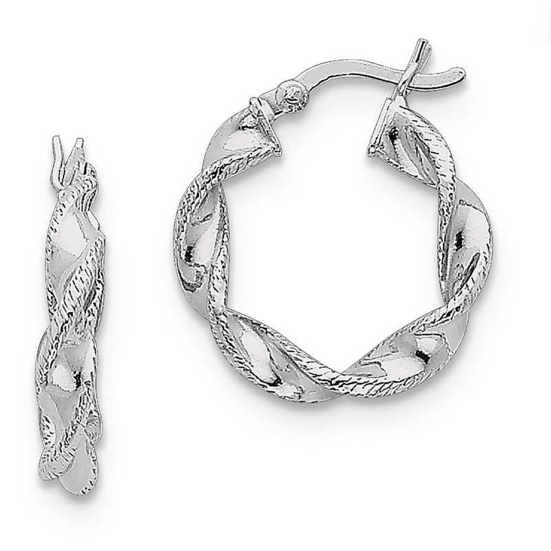 QE6756: 925 Rhodium PlatedTwist 20mm Hoop Earrings