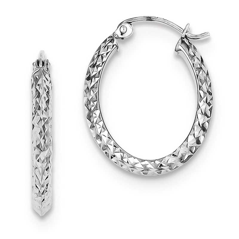QE8365: 925 Rhodium Plated Diam-Cut Oval Hoop Earrings