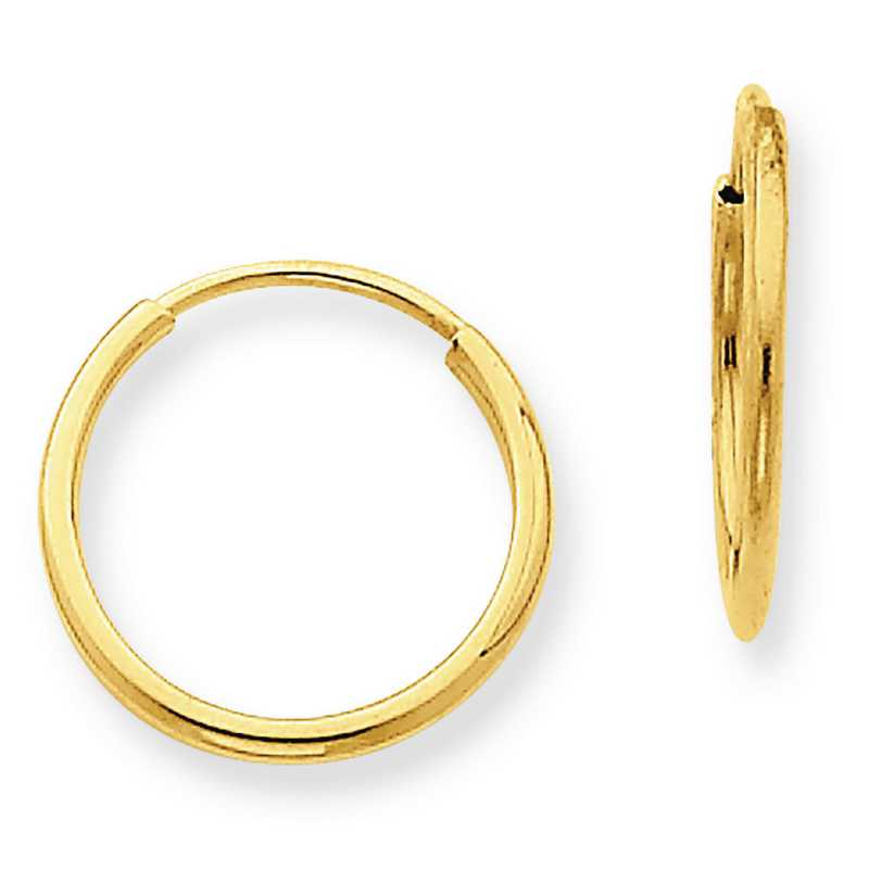 XY1210: 14K YG 1.25MM ENDLESS HOOP EARRINGS