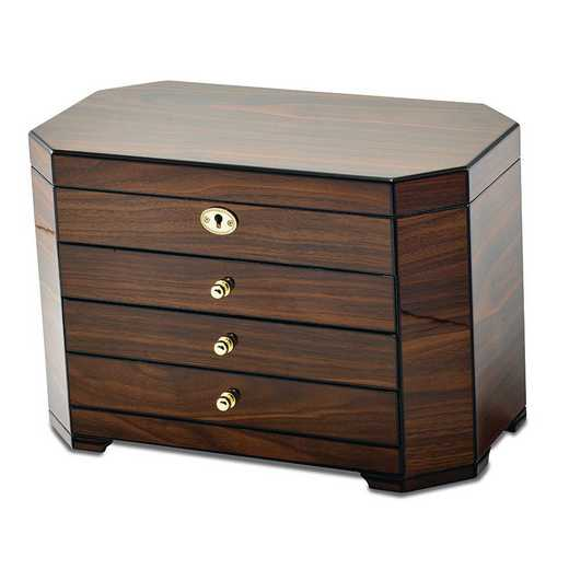 JJB113W: Walnut Wood Veneer with Black Accents Locking Jewelry Box