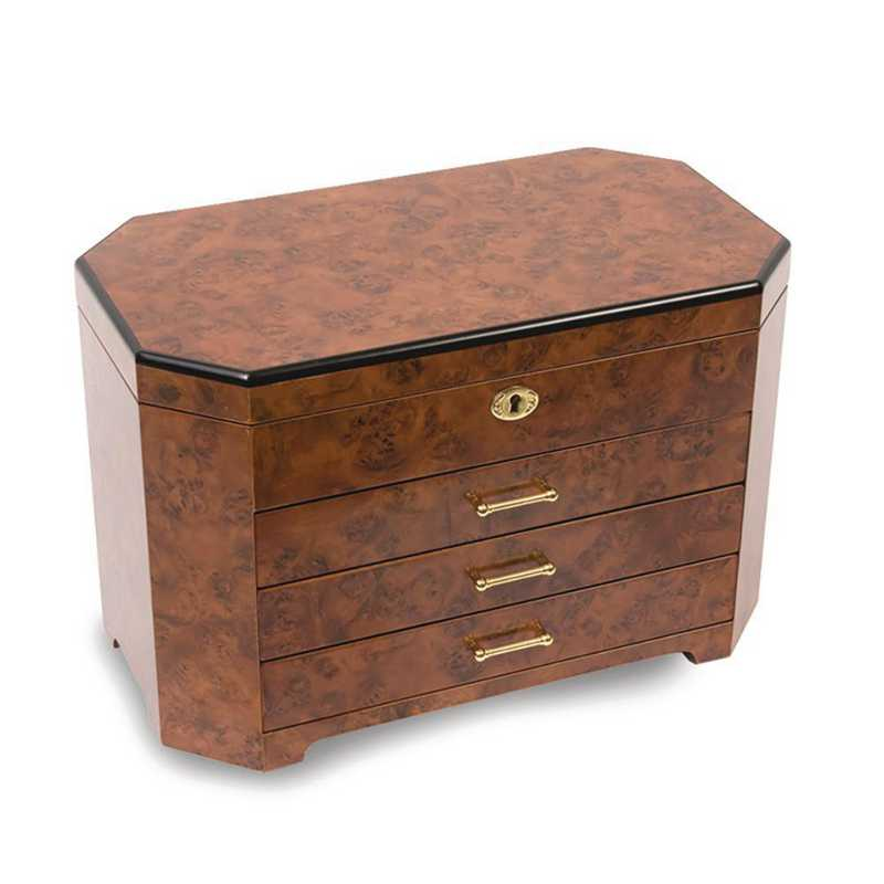 JJB113: Burlwood & Ebony w/3 Drawers Jewelry Box