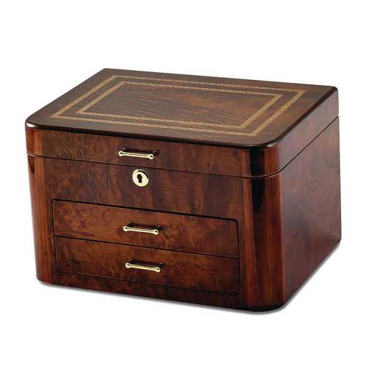 JJB245: Elm Burl with Double Braided Accents Jewelry Chest