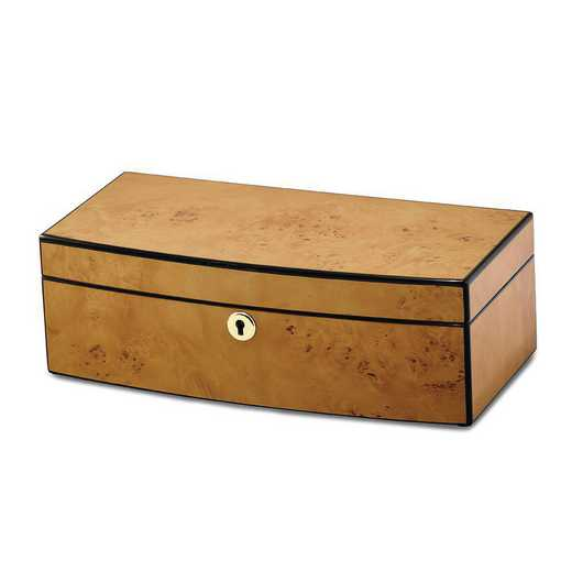 JJB257: Burlwood Veneer High Gloss Finish with Lift Tray Jewelry Box
