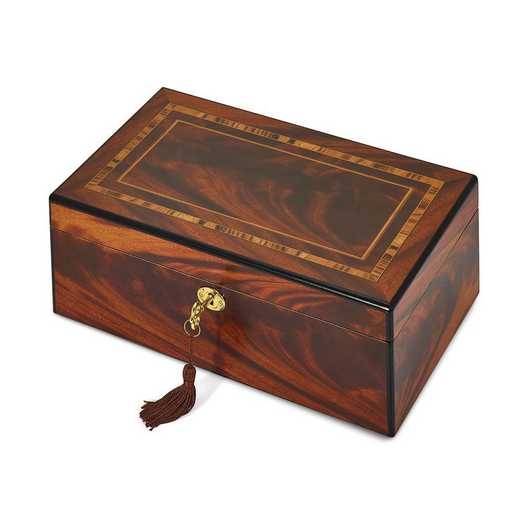 JJB353SP: Tiger Wood Veneer Matte w/Inlay Design Locking Jewelry Box