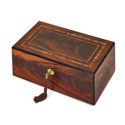 JJB353SP: Tiger Wood Veneer Matte w/Inlay Design Locking Jewelry Box
