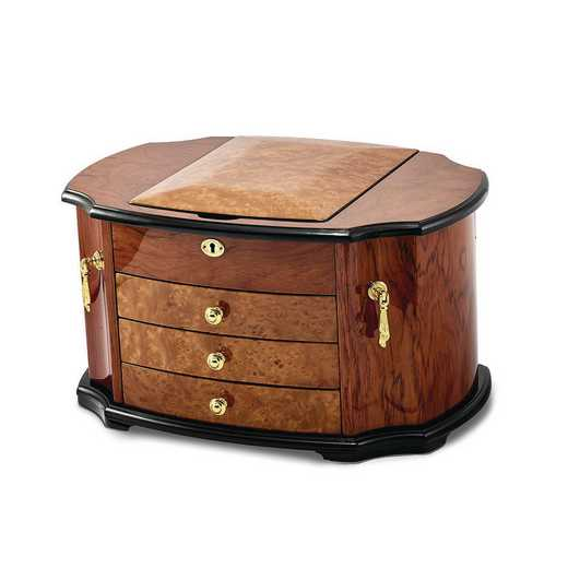 JJB528: Oak Burl with Natural Mapa Wood Veneer Jewelry Box