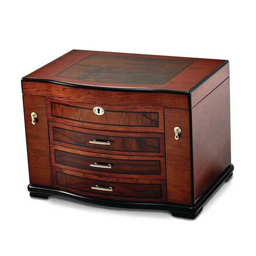 JJB693: High Gloss Poplar w/Burlwood Inlay 3-drawer Jewelry Chest