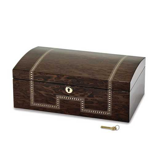 JJB843: Tiger Eye Veneer w/Inlay Locking Jewelry Chest