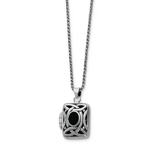 QG1938-18: Sterling Silver Onyx Square Locket with Chain w/Chain