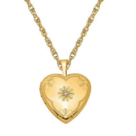 QLS104-GF11RY-18: 1/20 Gold Filled Diamond 2-Frame Heart Locket with Chain