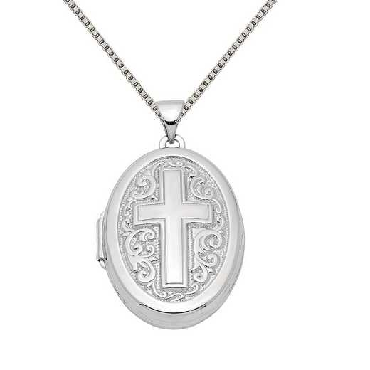 QLS217-QBX019RH-18: Sterling Silver Rhodium-plated Oval Cross Locket with Chain