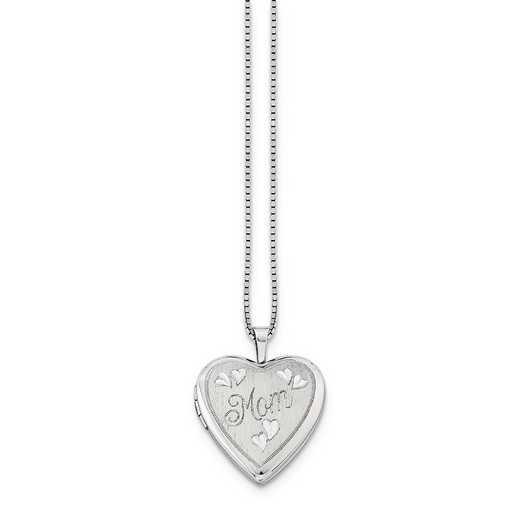 QLS241-18: SS Rho 20mm MOM Heart Locket with Chain