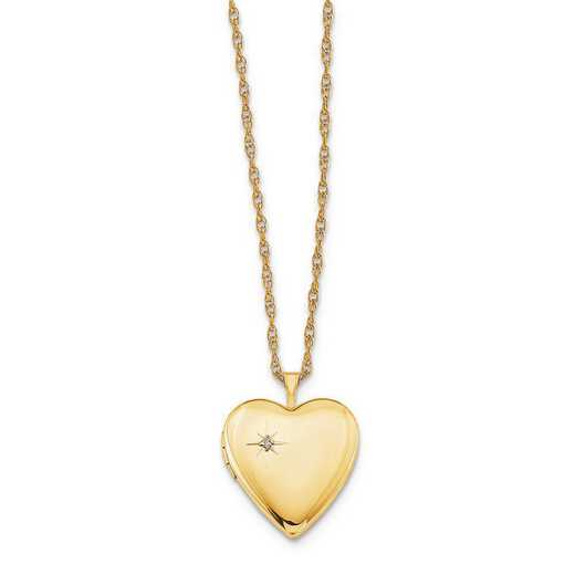 QLS275-18: 1/20 Gold Filled 20mm Diamond Heart Locket with Chain