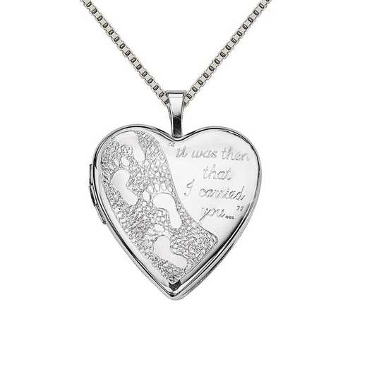 QLS319-QBX019RH-18: SS Rho 20mm Footprints Heart Locket with Chain
