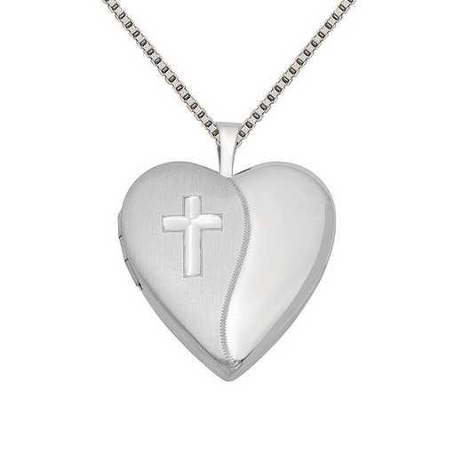 QLS321-QBX019RH-18: SS Rho 20mm Cross Satin/Polished Heart Locket with Chain