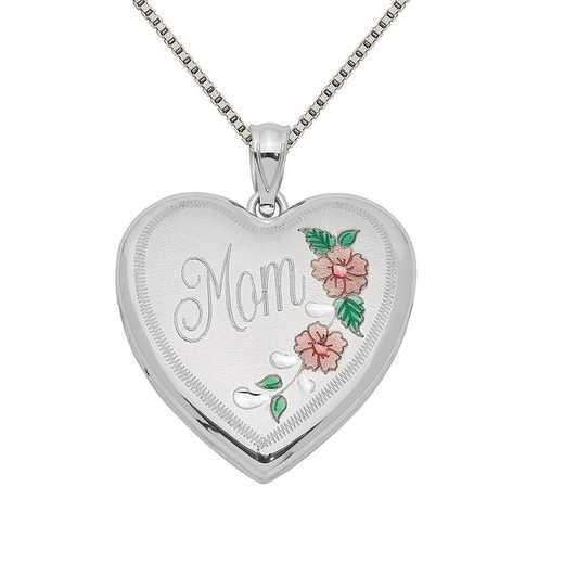 QLS328-QBX019RH-18: SS Rho 24mm Enameled Floral Mom Heart Locket with Chain