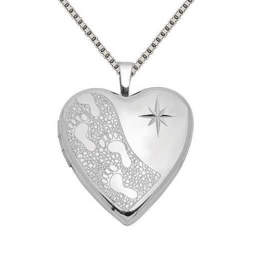 QLS379-QBX019RH-18: SS Rho 20mm D/C Footprints Heart Locket with Chain