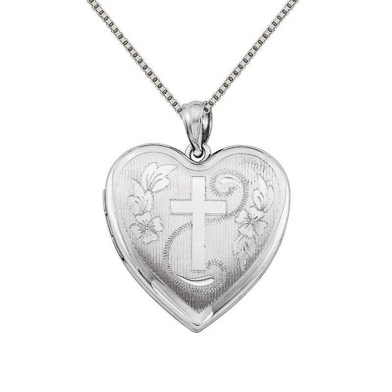 QLS387-QBX019RH-18: SS Rho 24mm D/C Cross Heart Locket with Chain