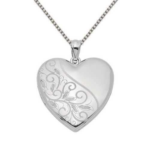 QLS402-QBX019RH-18: SS Rho 24mm Scrolled Heart Family Locket with Chain