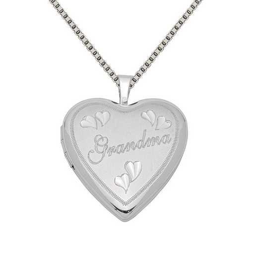 QLS411-QBX019RH-18: SS Rho 20mm D/C Grandma Heart Locket with Chain