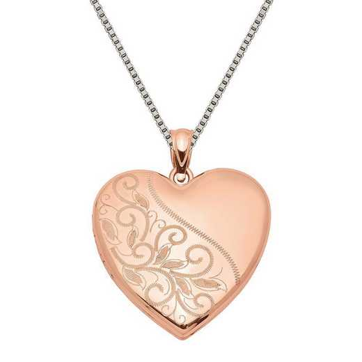 QLS753-QBX019RH-18: SS Rose Gold-plated Scrolled Heart Family Locket with Chain