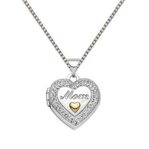 QLS812-QBX019RH-18: SS Rhodium Gold-tone Preciosa Crystal Mom Locket with Chain