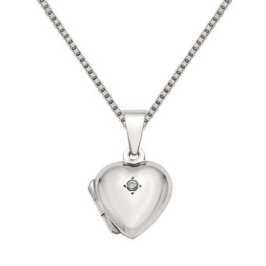 QLS827-QBX019RH-18: Sterling Silver CZ Heart Locket with Chain
