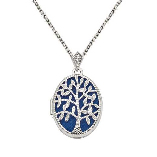 QLS858-QBX019RH-18: SS Rhodium Polish and Texture Diamond Tree Locket with Chain