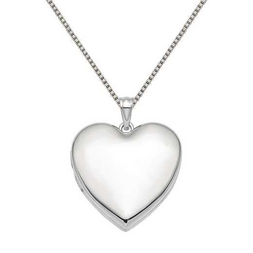 QLS866-QBX019RH-18: SS Rho 24mm Plain Ash Holder Heart Locket with Chain
