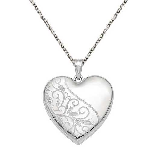 QLS868-QBX019RH-18: SS Rho 24mm Scrolled Ash Holder Heart Locket with Chain