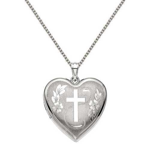 QLS873-QBX019RH-18: SS Rho 24mm D/C Cross Ash Holder Heart Locket with Chain
