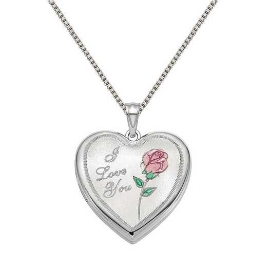 QLS875-QBX019RH-18: SS Rho 24mm Enameled Rose Ash Holder Heart Locket with Chain