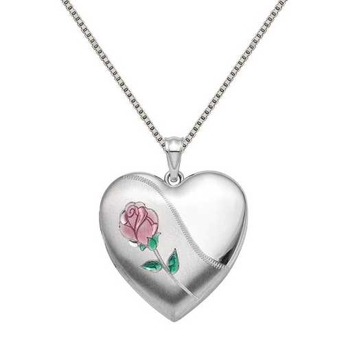 QLS878-QBX019RH-18: SS 24mm Satin Enamel D/C Rose Ash Holder Locket with Chain